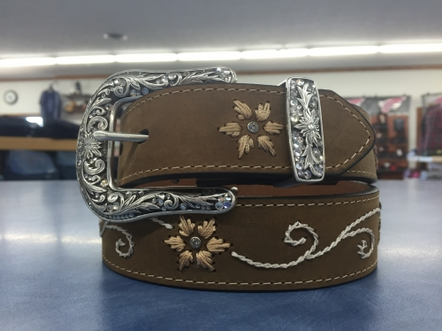 Women's Brown Leather Floral Detail Belt