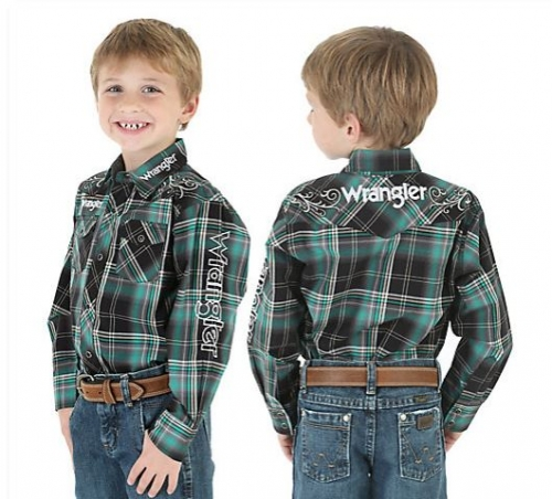 Boy's Wrangler® Logo Plaid Shirt